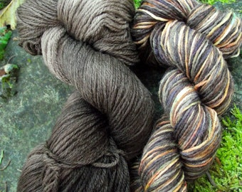 Handpainted sock yarn, shawl kit  fingerling yarn, Superwash Merino Wool 150 grams-Walnut
