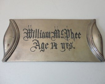 ANTIQUE late 1800s - early 1900s casket coffin NAME PLATE