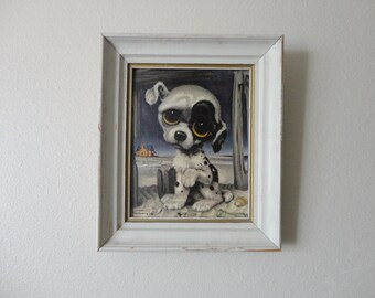 VINTAGE framed 'pity PUPPY' PRINT by Gia