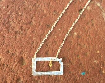kansas outline necklace