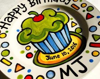 "7 "" Happy Birthday party cupcake personalized Plate custom ceramic"