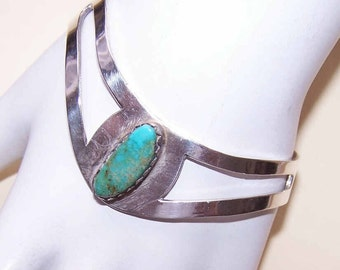 Vintage Mexican STERLING SILVER & Turquoise Cuff Bracelet