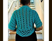 CROCHET shrug PATTERN - One hour shrug, bolero, vest, clothing for women, teens #1016 Teal Green Shrug,