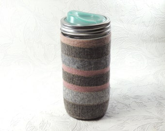 Jar Cozy - pint-and-half size - stripes - pink