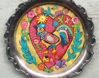 Small Folk Art Rooster Painting on a Vintage Tray