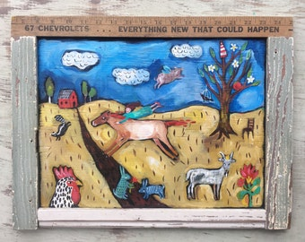 Framed Contempary Folk Art Farm Painting