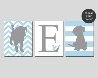 Puppy Nursery Art Trio - Dogs - Set of Three 8x10 Prints - Chevron Puppy, Chevron Initial, Striped Puppy Dog - CHOOSE YOUR COLORS