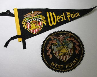 Vintage Penants- West Point NY- United States Military Academy Flag- Military Army Collectible