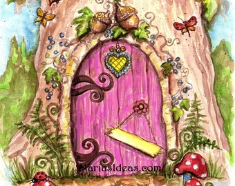 Personalized Fairy door, Fairy wall art, Nursery wall art, Kids room wall art, fairy door