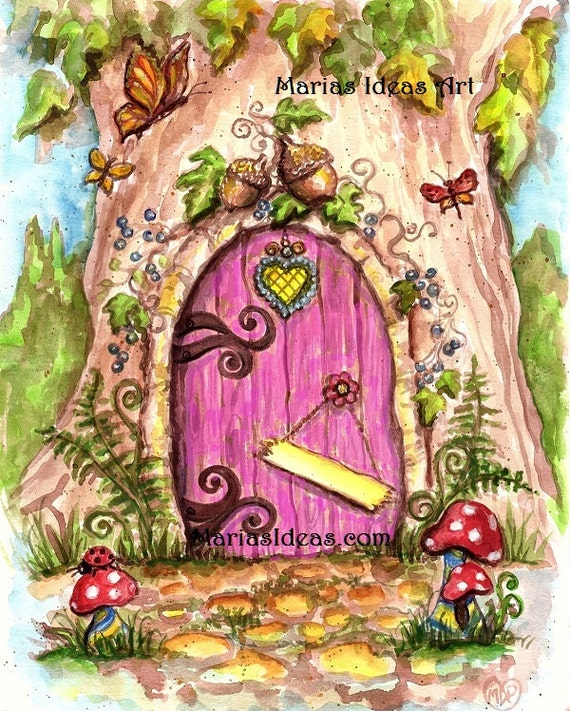 Personalized fairy door fairy wall art nursery wall art for Fairy door for wall