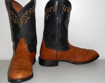 Mens 11.5 D Cowboy Boots Ariat Brand Black Brown Western Rockabilly Shoes
