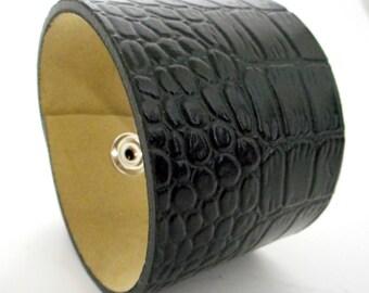 Black Upcycled Wrist Cuff Bracelet Biker Western Boho Reclaimed Jewelry