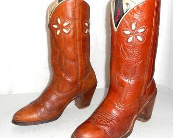 Womens Size 7 Dingo Cowboy Boots Vintage Cowgirl Boho Hippie Flower Floral Brown