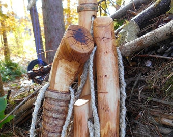 Hiking Walking Stick, Worm wood with natural finish, Tall Hiking Staff