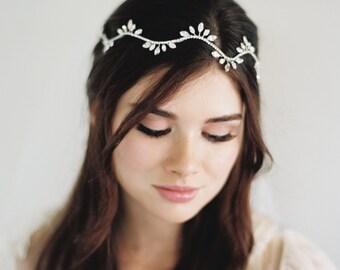 Hair Wreath, Gold Leaf, Hair Crown, Boho Garland, Hair Halo, Vine Tiara, Wedding Circlet, Downton Abbey Headpiece, Crystal Headdress, #1626