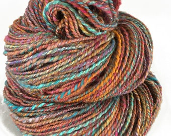 Handspun yarn, 2 ply, 160  yds, DK weight, 'Bollywood'
