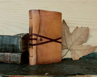 Rustic Journal, Antiqued Leather, Natural Goatskin