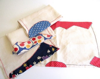 Vintage Linen Placemats Handmade Quilt Pieces Luncheon Table Linens Fiesta Colors