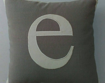 Gray monagram pillow. parsnalize letter pillow.   initial pillow.  custom  made  letter of your choice. 18 inche