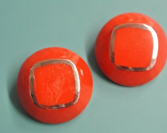 Lot of 4 gorgeous vintage 1940s round clear red rectangular glass buttons with selfschrank and silvercolor decor