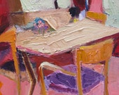 My Dining Room, impressionistic, contemporary, impasto, dining room, interior