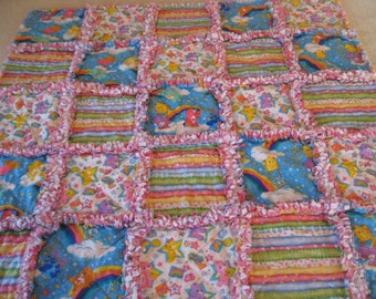 Colorful Care Bears Baby Girl Rag Quilt Blanket 35x35