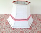 Red Uno Lamp Shade, Floor Lampshade Threaded for Bridge Lamp, French Linen Stipe 7x12x8 - Bistro Look!