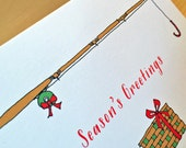 Fishing for Presents - Holiday Fishing Card - set of 4 - READY TO SHIP