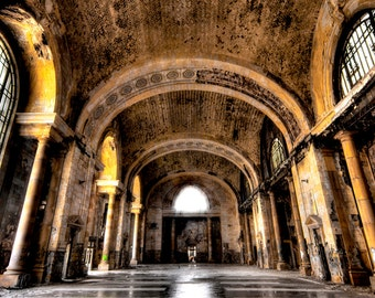 "Detroit Architecture, color photography, Neglected Beauty, Fine Art Print, Abandoned Building ""The Bath House"""