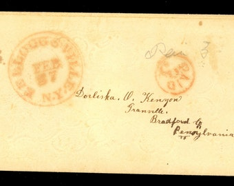 1840s Kelloggsville New York Red Paid 3 CDS Stampless Cover Granville PA CDS I13