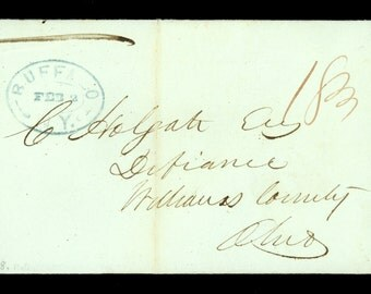 1838 Buffalo New York Oval Blue Stampless Folded Letter CDS SFL Defiance Ohio I11