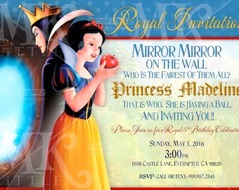 5x7 CUSTOMIZED Snow White Party Invite PRINTABLE ( Digital File )