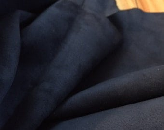 A GORGEOUS lambsuede leather in stunning very dark navy blue color - a full hide of 8 sft
