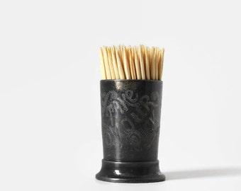 "Antique ""Take Your Pick"" Toothpick Holder, Victorian Quadruple Plate Pick Holder"