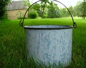 Antique Blue Swirl Enamel Berry Bucket Lunch Pail With Handle Enamelware Country Kitchen Farmhouse Home Decor