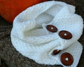 Beautiful Crochet Wide Cowl,  Large Wooden Buttons.  Custom Order in Your Color.