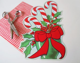 Vintage 1980 Flocked Christmas Holiday Decorations Candy Canes Cardboard Die Cut