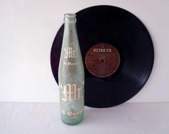 Vintage 1960s Mr. Cola Glass Bottle Pop Bottle Soda Bottle 16 Fluid Ounces Grapette Company Inc