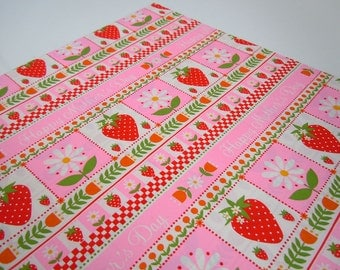 Vintage 1970's Mother's Day Strawberry Wrapping Paper | Pink Floral Gift Wrap Paper