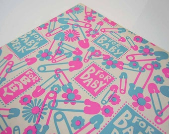 Vintage 1960s Baby Shower Wrapping Paper   Pink Blue Gift Wrap Paper   Congratulations New Baby Safety Pins Wrapping
