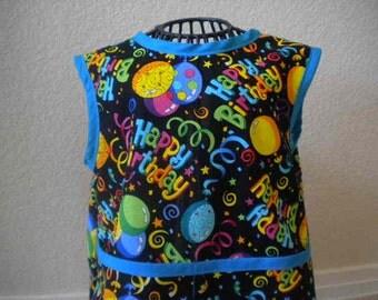 Happy Birthday Toddler Smock, Bib, Apron With Turquoise Bias trim. Size 1t-2t