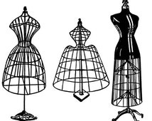 antique wire dress forms mannequins png file sewing steampunk clip art stamp Digital graphics Image Download