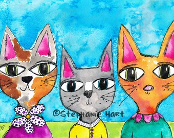 Three Little Kitties by Stephanie Hart, Archival print Watercolor Illustration 8x10, Cat Art