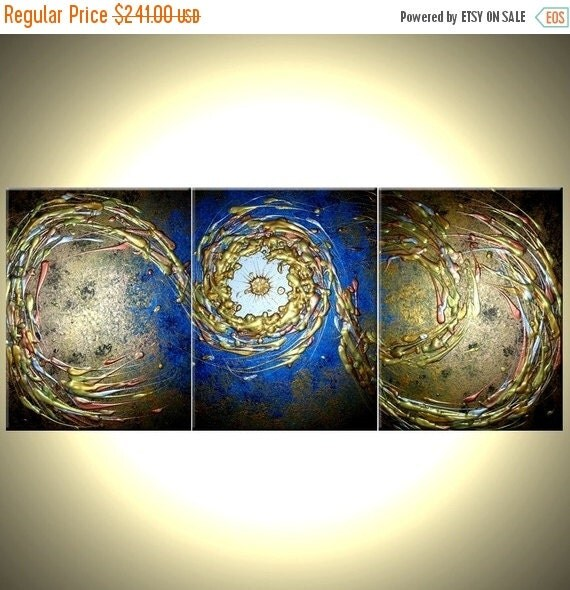 Original Abstract Blue Gold Metallic Painting by Lafferty - 24 X 54 - ONE DAY Sale Sale 22% Off