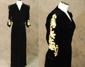 vintage 30s Hostess Gown - Studded Black Silk Velvet and Leather Dressing Gown 1930s Maxi Dress Sz M