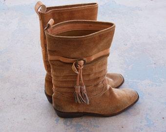 vintage 70s Campus Boots - 1970s Nine West Western Boots - Boho Suede Cowboy Boots Sz 8.5 9 39 40