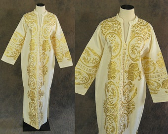 vintage 70s Greek Caftan - White and Gold Embroidered Maxi Dress -1970s Boho Ethnic Hippie Festival Dress Sz L XL