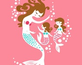 """8X10"""" Mermaid Mother & Two Daughters giclee print on fine art paper Warm pink, teal, brunette."""
