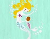 """40% OFF EVENT 8X10"""" mermaid mother & baby daughter giclee print on fine art paper. turquoise blue, purple, blonde brunette texture."""