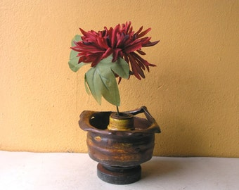 Mini Flower Vase, Shelf Table Desktop Decor, Industrial Decor, Junk Vase, Metal Vase, Dry Flower Vase, Industrial Salvage, Upcycled Vase